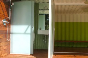 storage container recycled into bathroom